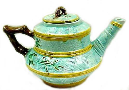 Majolica Teapot w/ Bamboo Design