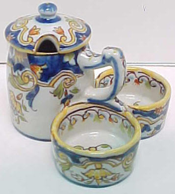French Faience Mustard Pot (Not Quimper)