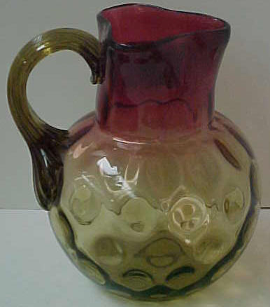 Amberina Inverted Thumbprint Pitcher w/ Applied Handle