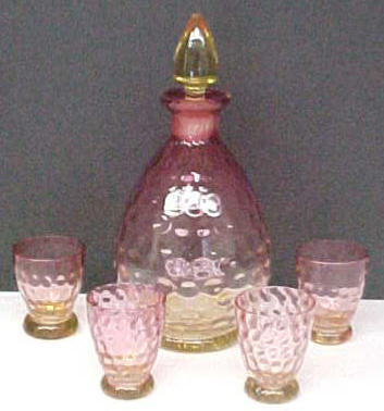 Amberina Decanter Set