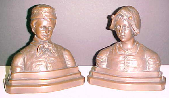 Art Deco Dutch Boy and Girl bookends