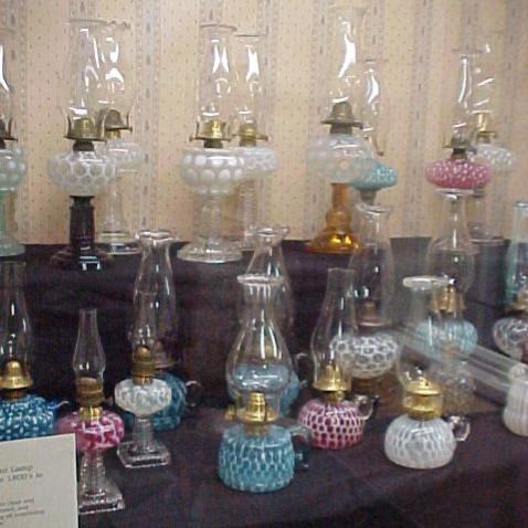 ... center antique mall of c 1900 pressed and blown opalescent oil lamps